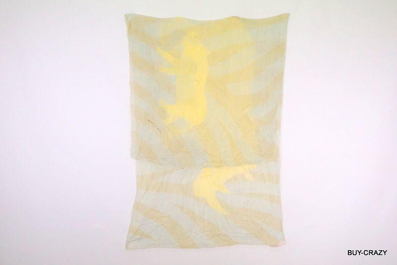 ブルガリ 158cm 大判 スカーフ シルク100% サイ アニマル ストライプ ストール ショール 黄色 イエロー 美品 BVLGARI 2144k