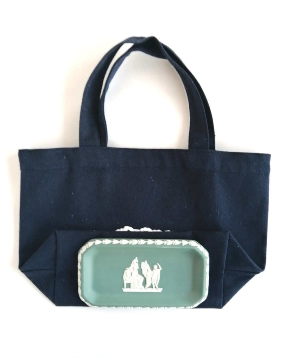 ハンドメイド ふわふわ白いパンの刺繍 紺色ミニキャンバストートバッグ エコバッグ