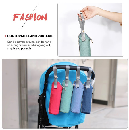 CC012:哺乳瓶 ミルク ウォーマー 断熱 バッグ サーモス ホルダー ポーチ 収納 携帯 赤ちゃん ベビー ピンク 黒 青 赤 グレー 紺 緑_画像3