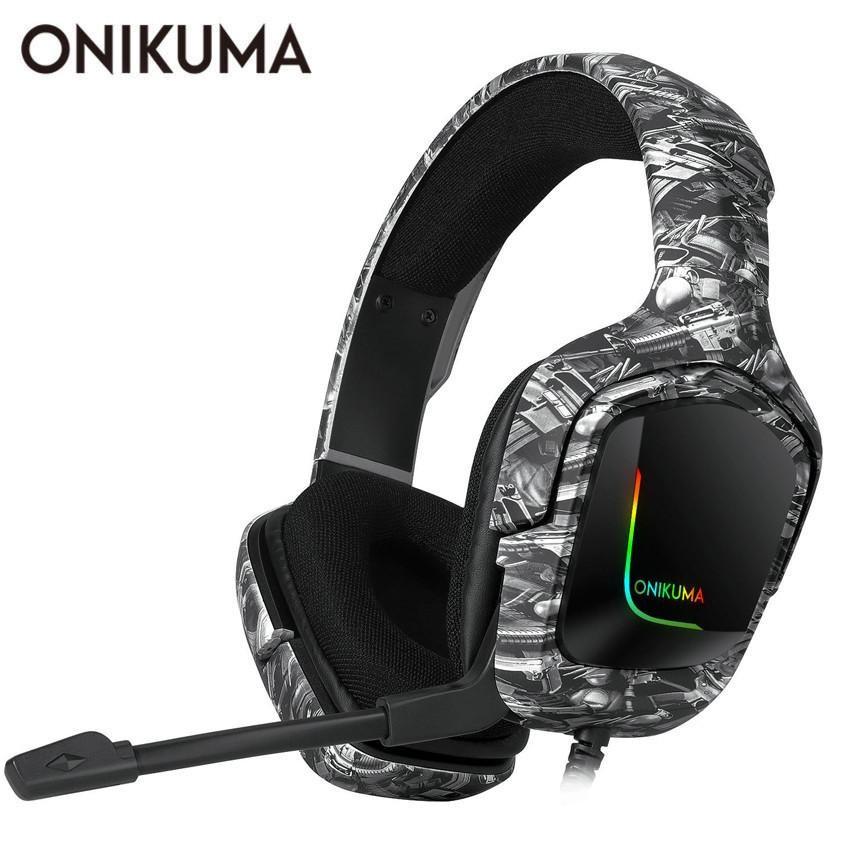 ONIKUMA K20 PS4 ヘッドセット CASQUE PC ゲーマーステレオゲーミングヘッドフォンマイク/LED ライト XBOX ONE/ラップトップタブレット_画像1