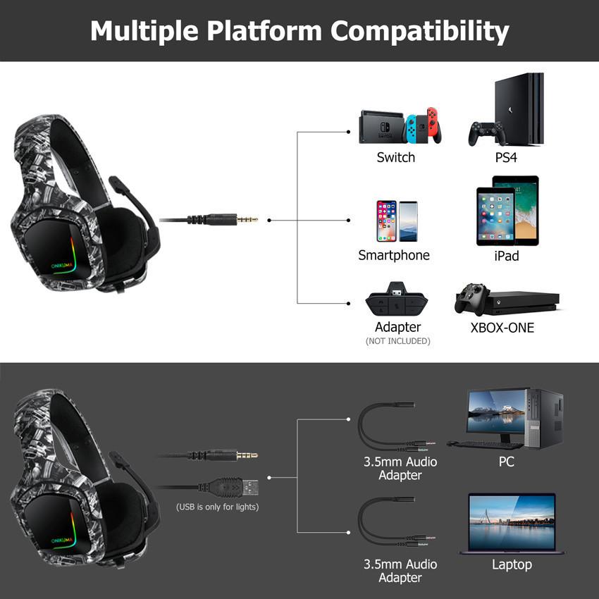 ONIKUMA K20 PS4 ヘッドセット CASQUE PC ゲーマーステレオゲーミングヘッドフォンマイク/LED ライト XBOX ONE/ラップトップタブレット_画像2