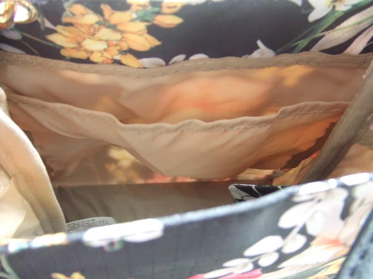 ★艶やかな花柄の素敵なトートバッグ♪未使用!ナイロン系 黒ブラック手提げバッグ 補助コンパクトサブバッグ エコ お買い物お散歩お弁当 _内側にポケット1つ