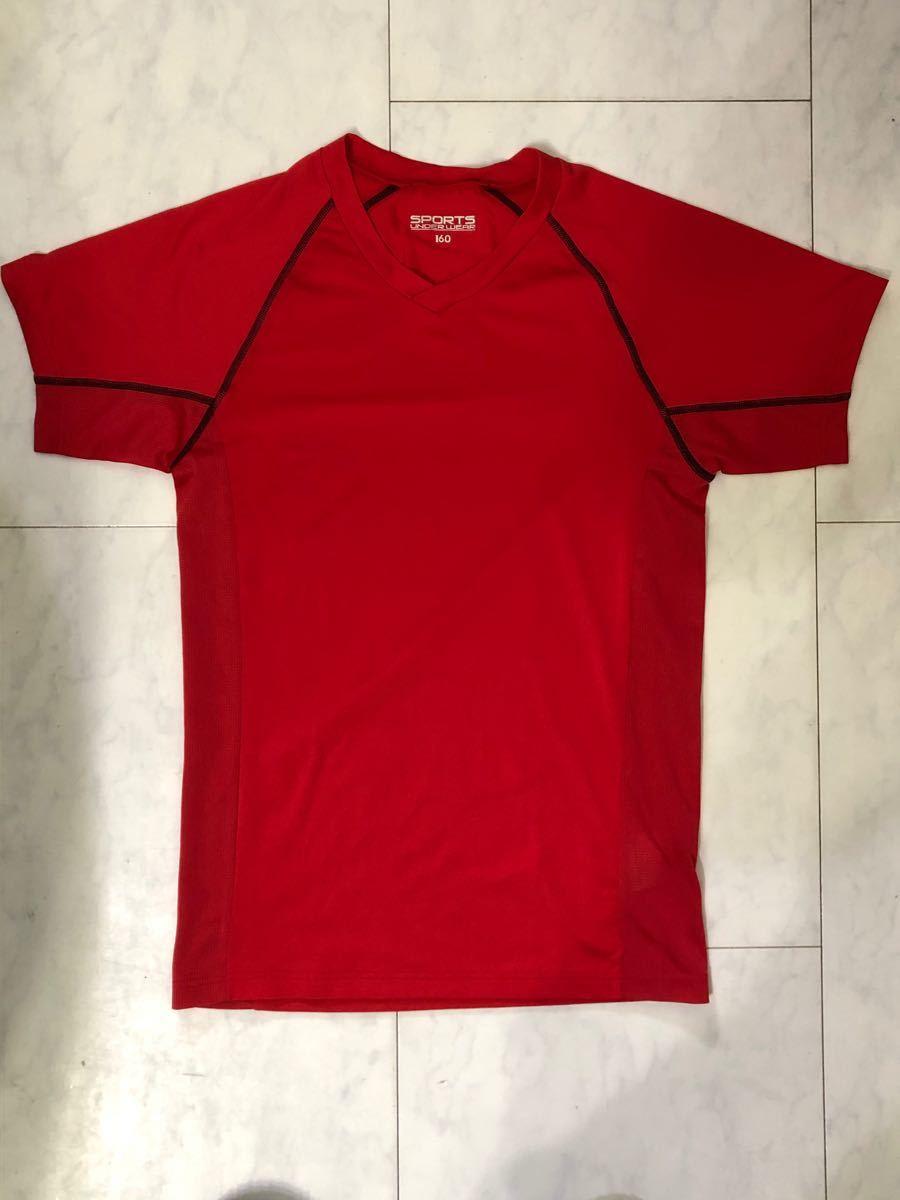 AEONイオン ジュニア半袖スポーツインナーアンダーウェア 赤 160cm
