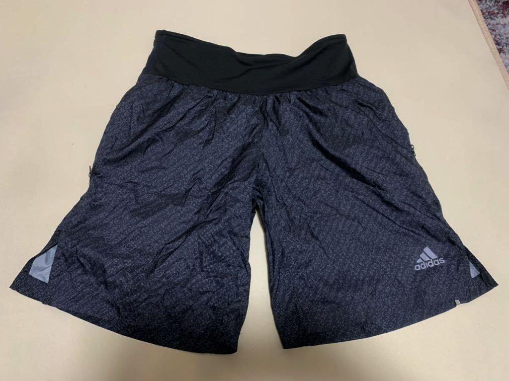 adidas/アディダス   ランニング ハーフパンツ ジョギング マラソン ジップポケット ブラック  Lサイズ