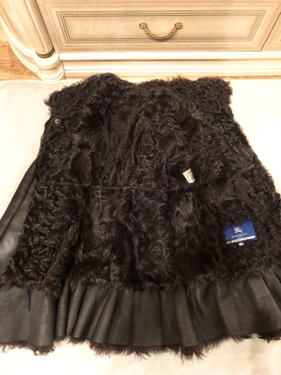 バーバリーブルーレーベル羊革ラムレザーリアルムートンファーフレアコート豪華デザイン美品肉厚