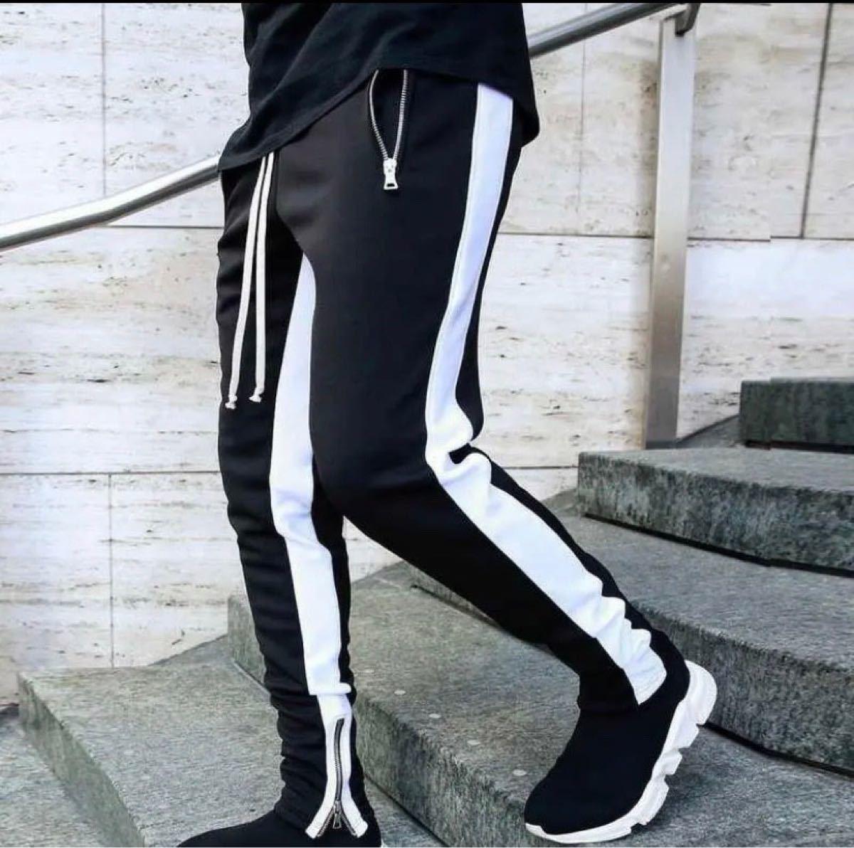 韓国メンズレディースファッション ジョガーパンツ サイドライン 黒×白 L