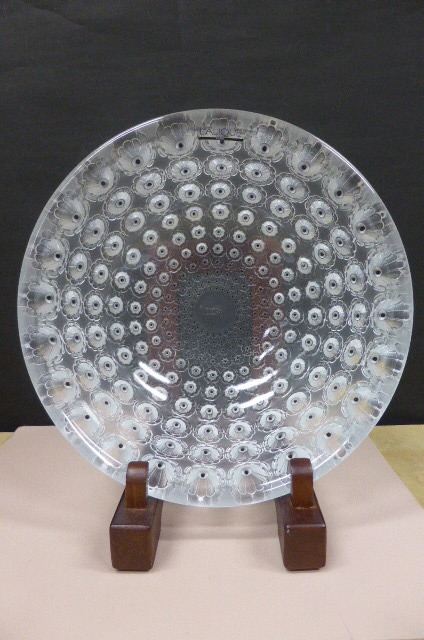 ★共箱・未使用保管品★ ラリック  クリスタルガラス LALIQUE Crystal  ヌムール ボウル 大皿 大鉢 NEMOURS 直径25cm_画像6