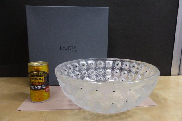 ★共箱・未使用保管品★ ラリック  クリスタルガラス LALIQUE Crystal  ヌムール ボウル 大皿 大鉢 NEMOURS 直径25cm_画像2