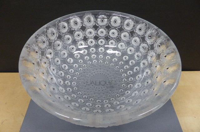 ★共箱・未使用保管品★ ラリック  クリスタルガラス LALIQUE Crystal  ヌムール ボウル 大皿 大鉢 NEMOURS 直径25cm_画像4