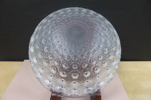 ★共箱・未使用保管品★ ラリック  クリスタルガラス LALIQUE Crystal  ヌムール ボウル 大皿 大鉢 NEMOURS 直径25cm_画像7