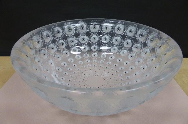 ★共箱・未使用保管品★ ラリック  クリスタルガラス LALIQUE Crystal  ヌムール ボウル 大皿 大鉢 NEMOURS 直径25cm_画像10