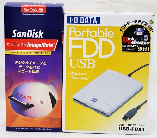 【ジャンク】IOデータ ポータブルFDD USB-FDX1 / サンディスク コンパクトフラッシュカード用外付型ドライブ 動作未確認_画像1