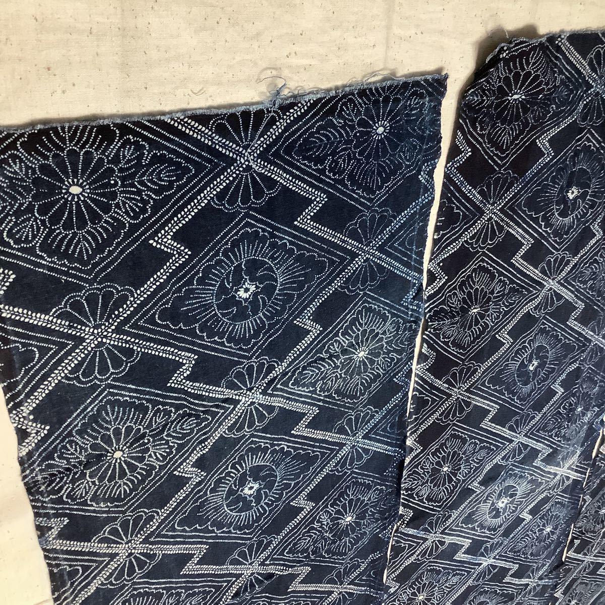 ◆古布前掛け専門屋◆アンティーク◆手織木綿◆本藍染◆型染め◆3幅3巾◆布団側◆刺子襤褸麻書生絣蚊絣雪ん子BOROはぎれ_画像4