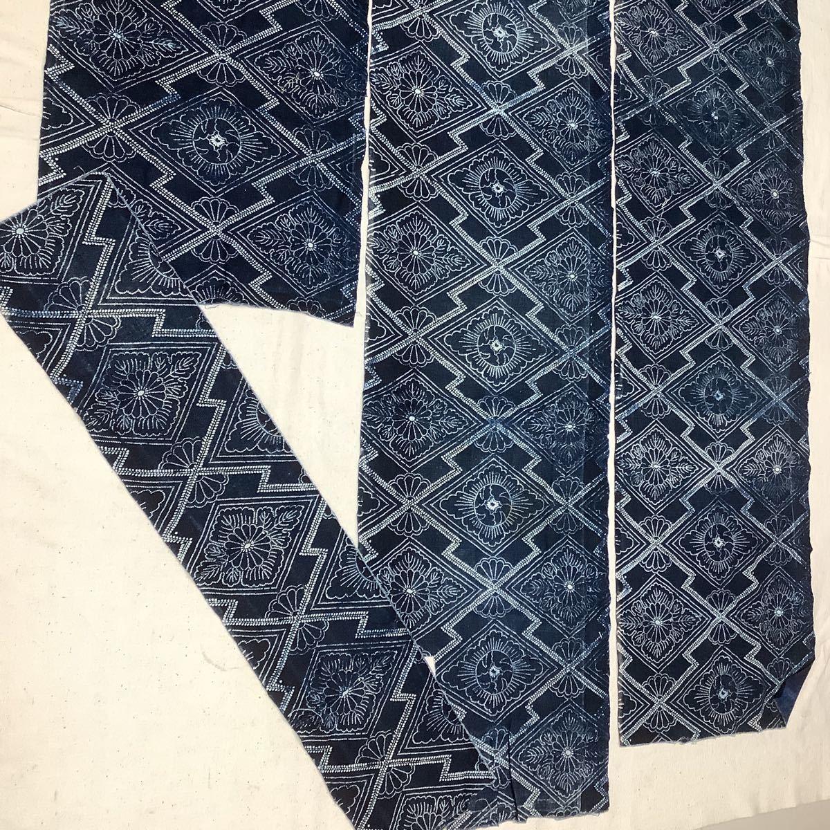 ◆古布前掛け専門屋◆アンティーク◆手織木綿◆本藍染◆型染め◆3幅3巾◆布団側◆刺子襤褸麻書生絣蚊絣雪ん子BOROはぎれ_画像3