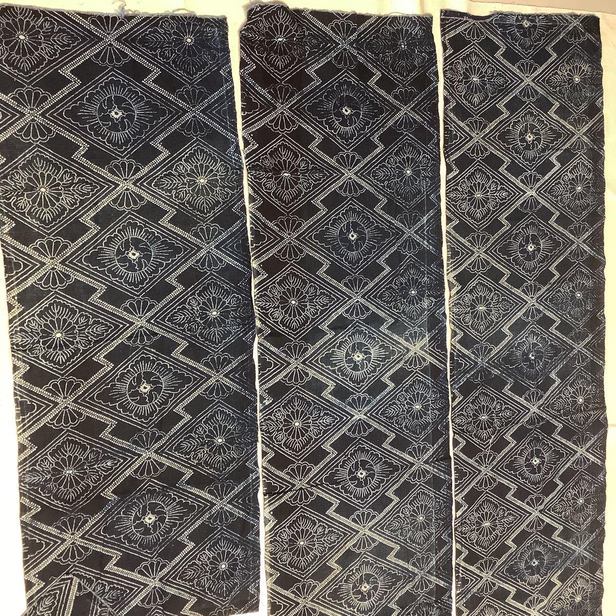 ◆古布前掛け専門屋◆アンティーク◆手織木綿◆本藍染◆型染め◆3幅3巾◆布団側◆刺子襤褸麻書生絣蚊絣雪ん子BOROはぎれ_画像2
