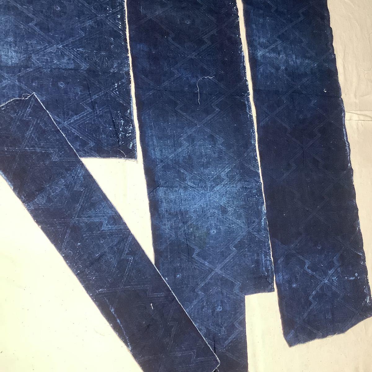 ◆古布前掛け専門屋◆アンティーク◆手織木綿◆本藍染◆型染め◆3幅3巾◆布団側◆刺子襤褸麻書生絣蚊絣雪ん子BOROはぎれ_画像9