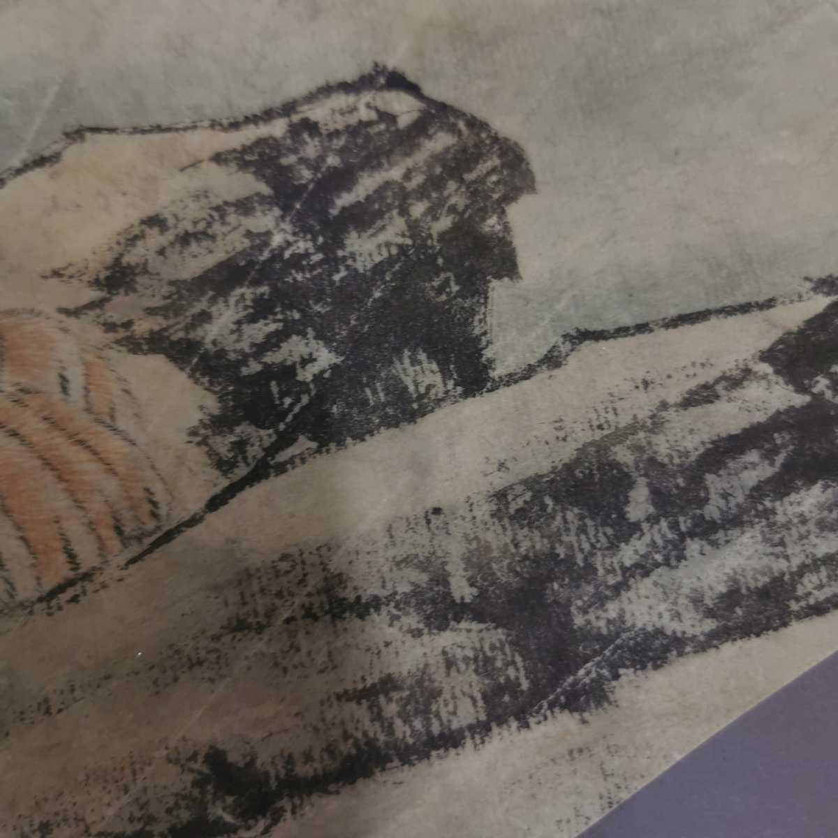 中国美術 扇面 掛軸 虎図 紙本 肉筆保証 掛け軸 時代物 在銘 中国古美術 唐物000307_画像7
