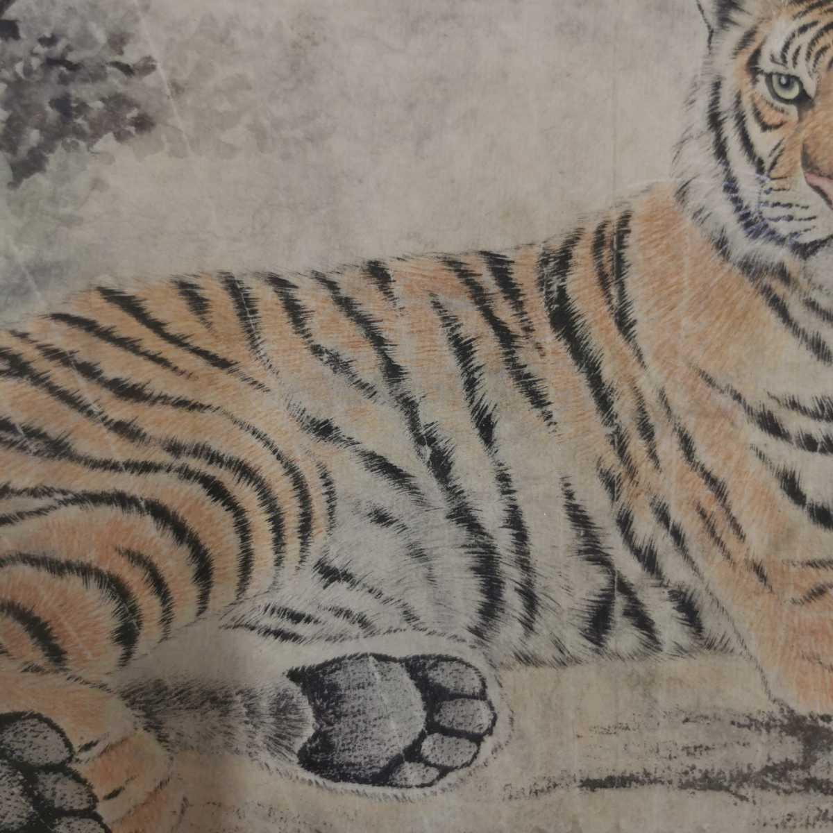 中国美術 扇面 掛軸 虎図 紙本 肉筆保証 掛け軸 時代物 在銘 中国古美術 唐物000307_画像3