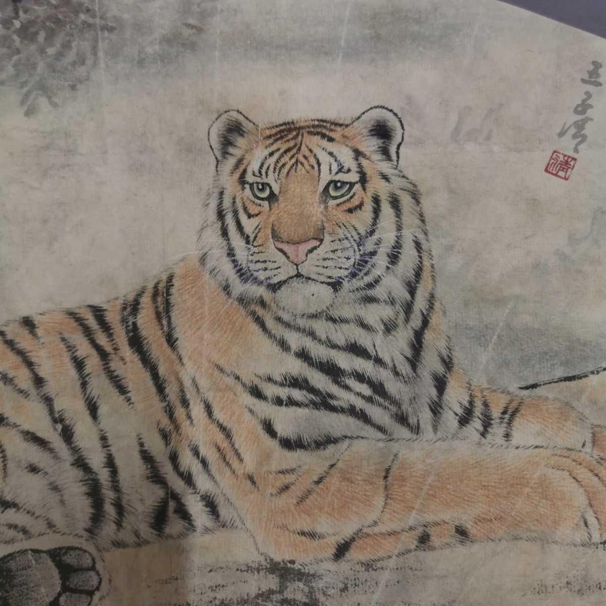 中国美術 扇面 掛軸 虎図 紙本 肉筆保証 掛け軸 時代物 在銘 中国古美術 唐物000307_画像2