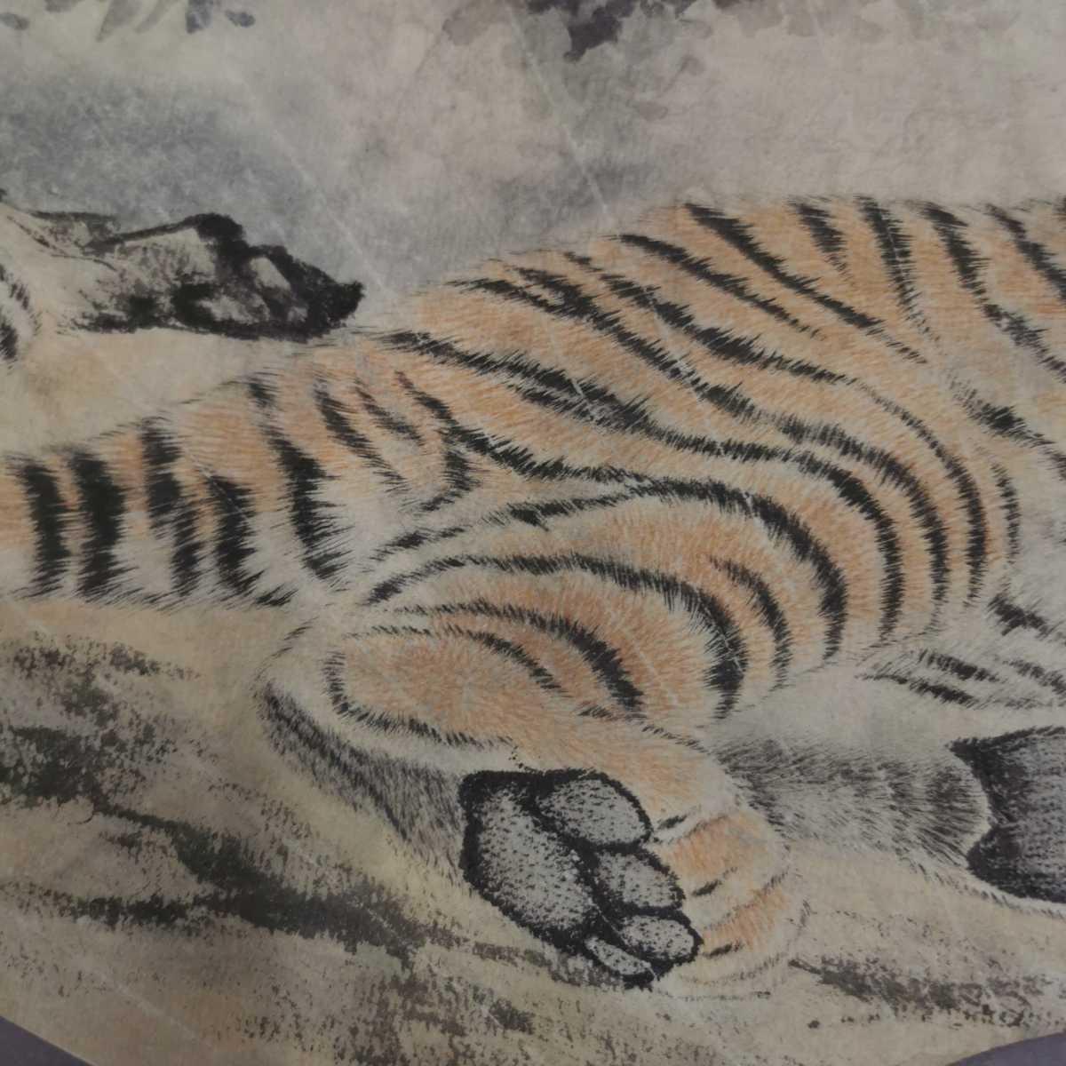 中国美術 扇面 掛軸 虎図 紙本 肉筆保証 掛け軸 時代物 在銘 中国古美術 唐物000307_画像4