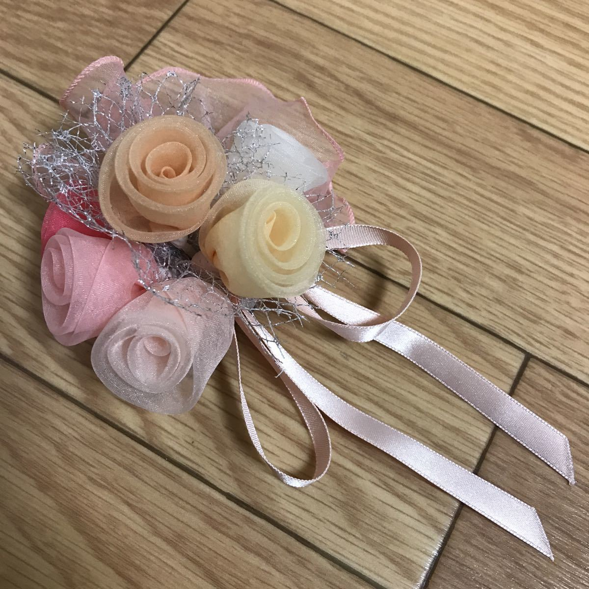 【美品】髪飾りブローチコサージュ兼用ピンクブーケ結婚式や卒業式、入学式に_画像1