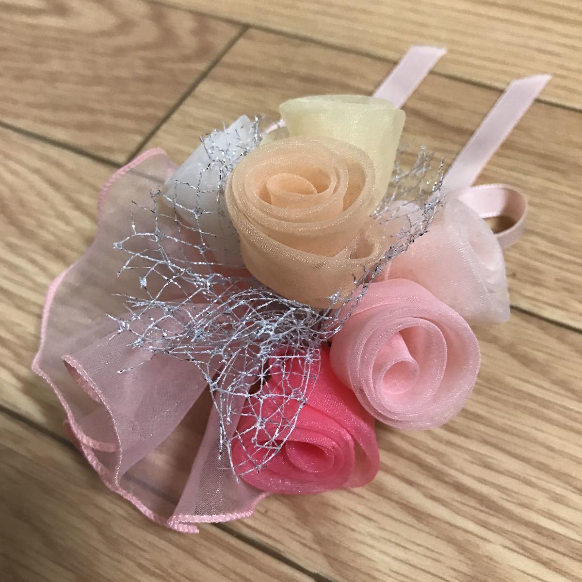 【美品】髪飾りブローチコサージュ兼用ピンクブーケ結婚式や卒業式、入学式に_画像2