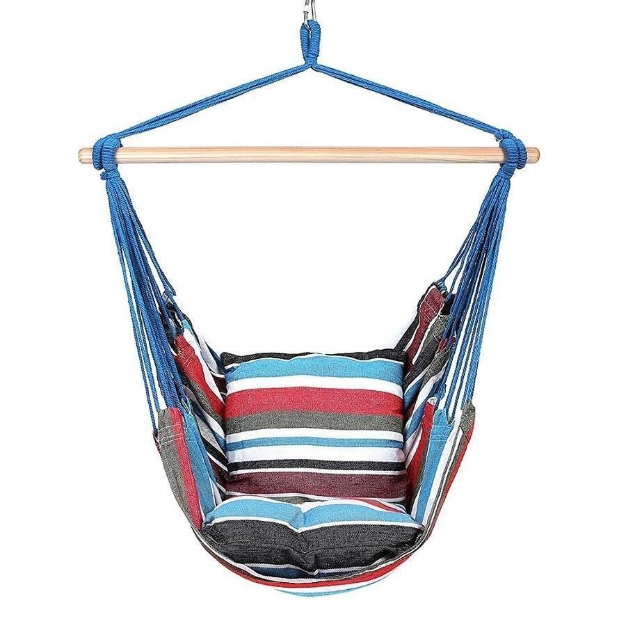ハンモックロープ椅子スイングチェアシートと 2 枕屋内屋外席椅子ベアリングハイキングキャンプマットクマ 165_画像4