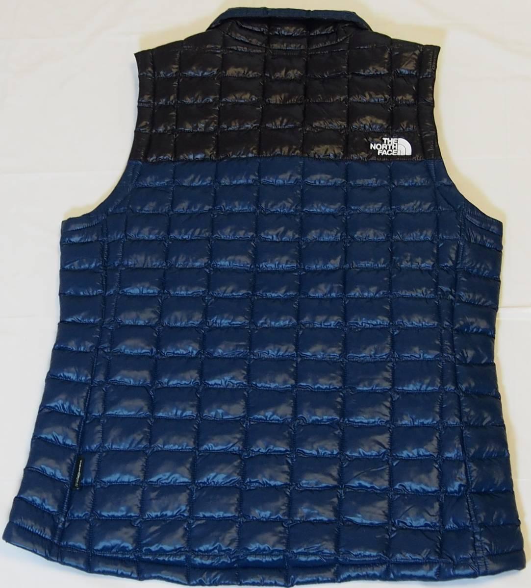 【USA購入、未使用タグ付】ノースフェイス レディース(メンズ可) 中綿ベスト M ブルー×ブラック The North Face Thermoball Eco Vest_画像3