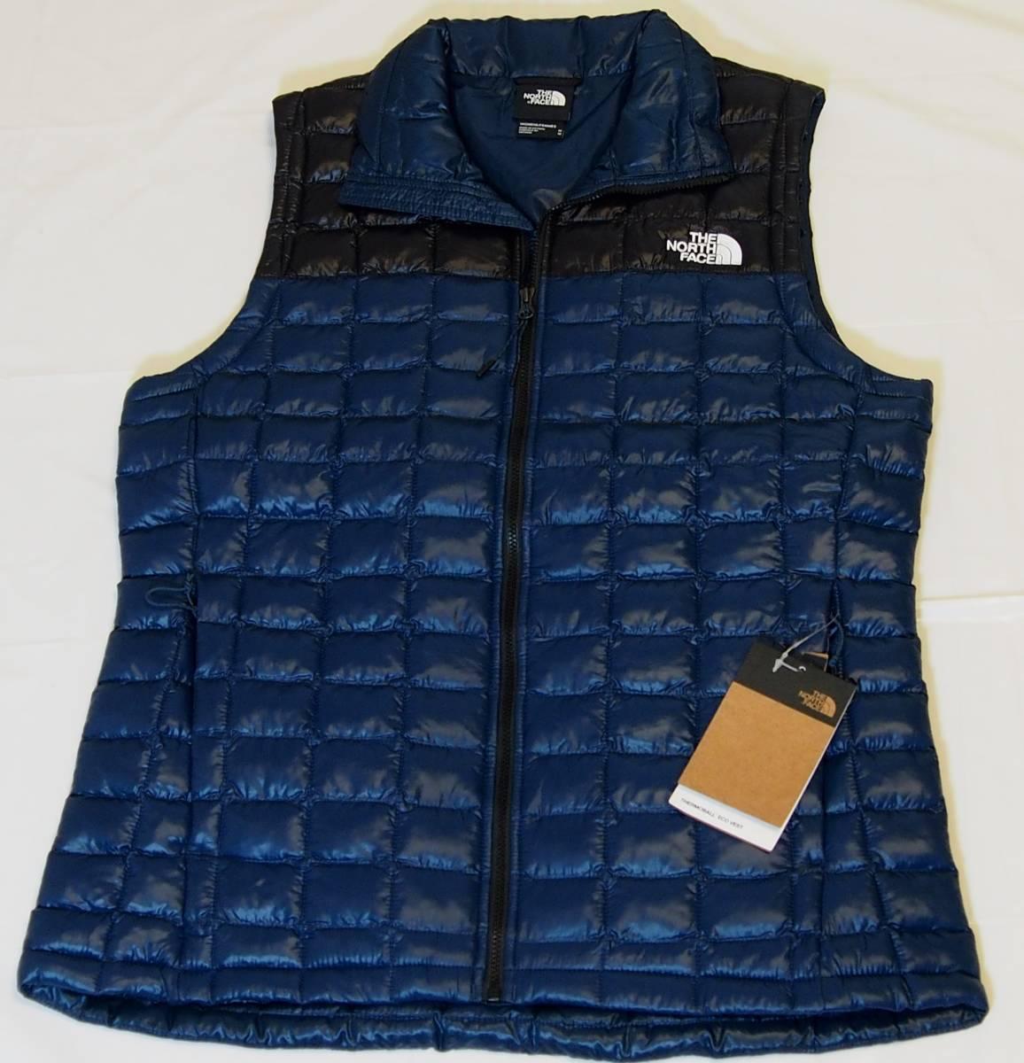 【USA購入、未使用タグ付】ノースフェイス レディース(メンズ可) 中綿ベスト M ブルー×ブラック The North Face Thermoball Eco Vest_画像1