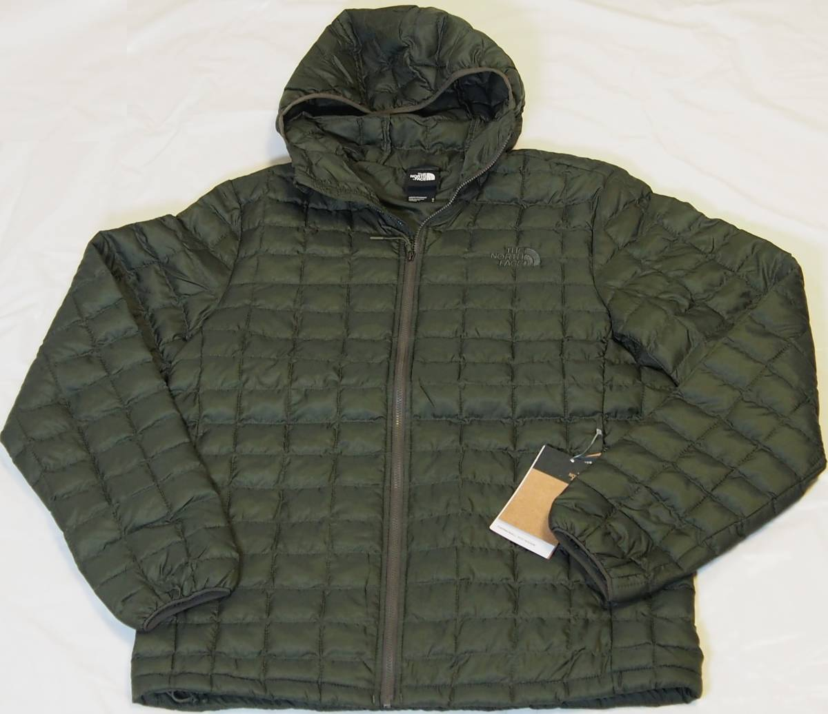 【USA購入、未使用タグ付】ノースフェイス メンズ Thermoball Eco ジャケット フード付 M グリーン The North Face NEW TAUPE GREEN Hoodie_画像1