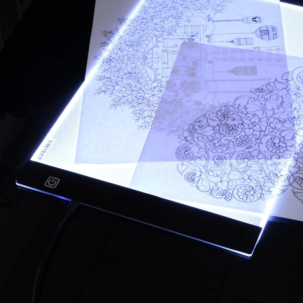 LEDトレース台☆アート用品 画材 スケッチ 絵画 イラスト 写し絵 ライトボックス ライトテーブル グラフィック ステンシル 製図 薄型 RU610_画像6