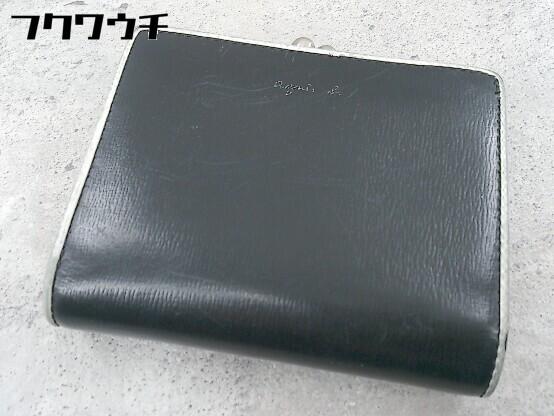 ◇ agnes b. アニエスベー がま口 二つ折り 財布 ウォレット ブラック レディース_画像1