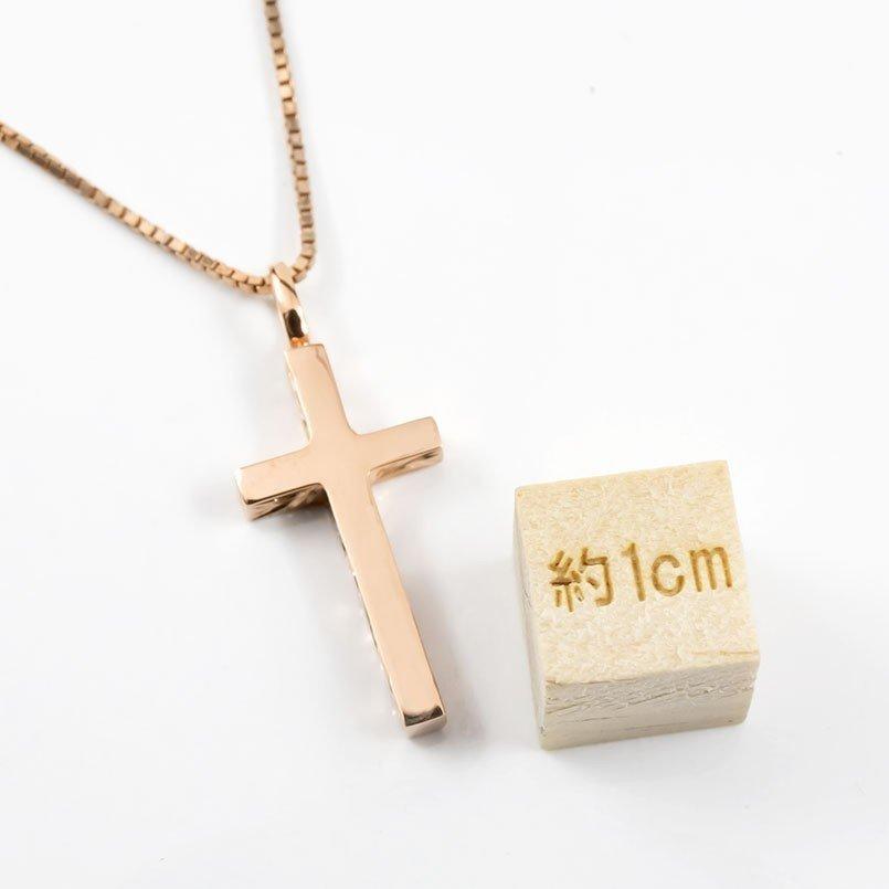ハワイアンジュエリー ネックレス メンズ ピンクゴールドk18 クロス ペンダントトップ 18金 十字架 スクロール マイレ 男性用 シンプル_画像4