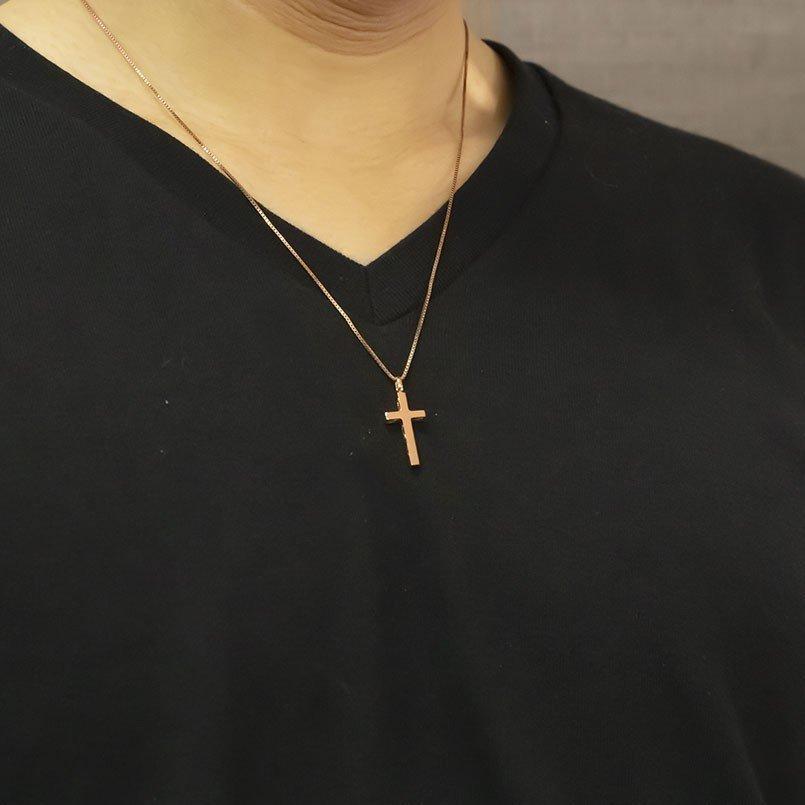 ハワイアンジュエリー ネックレス メンズ ピンクゴールドk18 クロス ペンダントトップ 18金 十字架 スクロール マイレ 男性用 シンプル_画像6