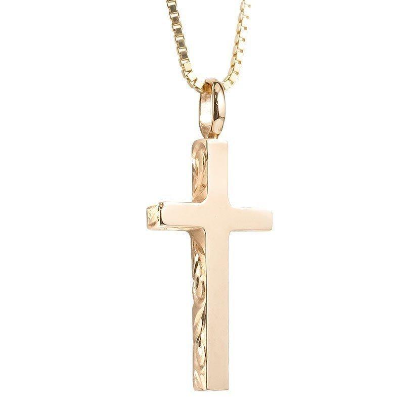 ハワイアンジュエリー ネックレス メンズ ピンクゴールドk18 クロス ペンダントトップ 18金 十字架 スクロール マイレ 男性用 シンプル_画像1
