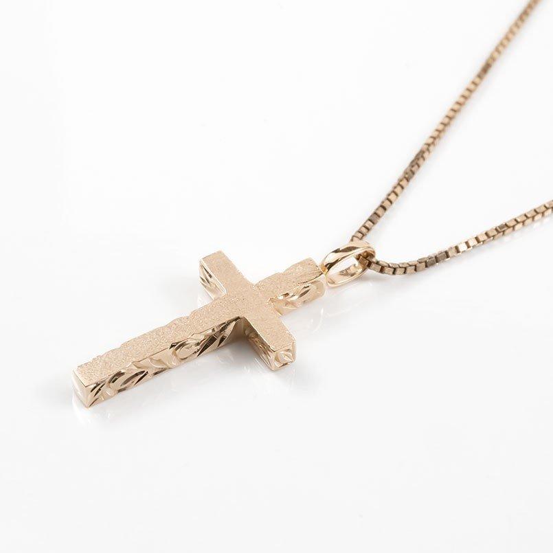 ハワイアンジュエリー ネックレス メンズ ピンクゴールドk18 クロス ペンダントトップ 18金 十字架 スクロール マイレ 男性用 シンプル_画像3