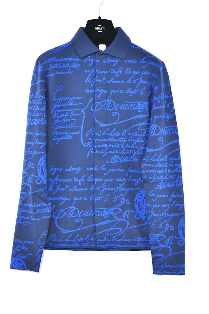 【未使用/XLサイズ】Berluti ベルルッティ スクリッドカリグラフィ ニット シャツ ネイビー ブルー ウール ナイロン BRLT パティーヌ