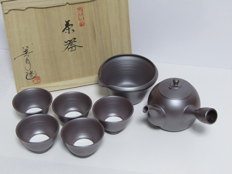 L29-583[SAN] 未使用 萬古焼 伊藤美月 造 茶器揃 共箱 横手急須 湯冷まし 煎茶碗5客 煎茶道具_画像1