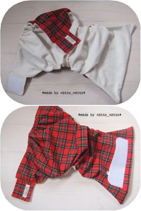 ハンドメイドの布おむつカバー♪タータンcheck*赤 LLサイズ 95~100_画像2