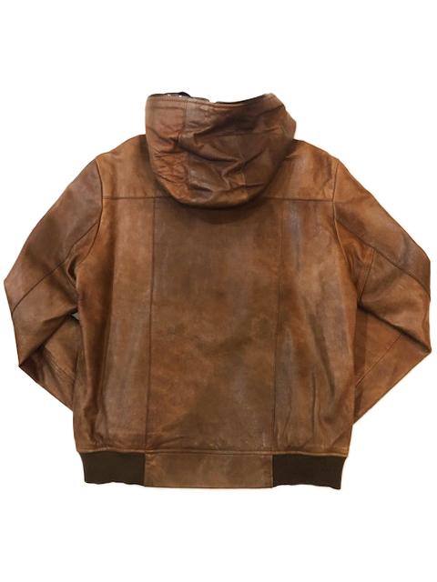 ビームス International Gallery BEAMS シープスキン レザー 羊革 ブルゾン ライダースジャケット ブラウン M 茶 パーカー フード_画像2