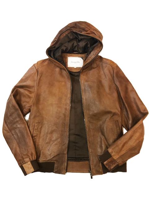 ビームス International Gallery BEAMS シープスキン レザー 羊革 ブルゾン ライダースジャケット ブラウン M 茶 パーカー フード_画像3