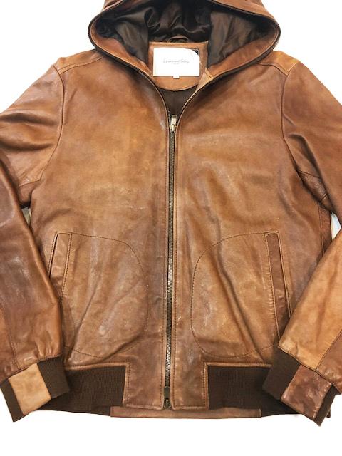 ビームス International Gallery BEAMS シープスキン レザー 羊革 ブルゾン ライダースジャケット ブラウン M 茶 パーカー フード_画像4