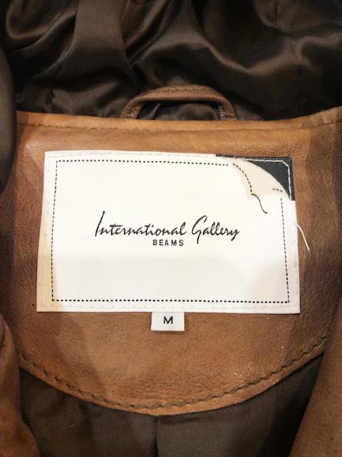 ビームス International Gallery BEAMS シープスキン レザー 羊革 ブルゾン ライダースジャケット ブラウン M 茶 パーカー フード_画像7