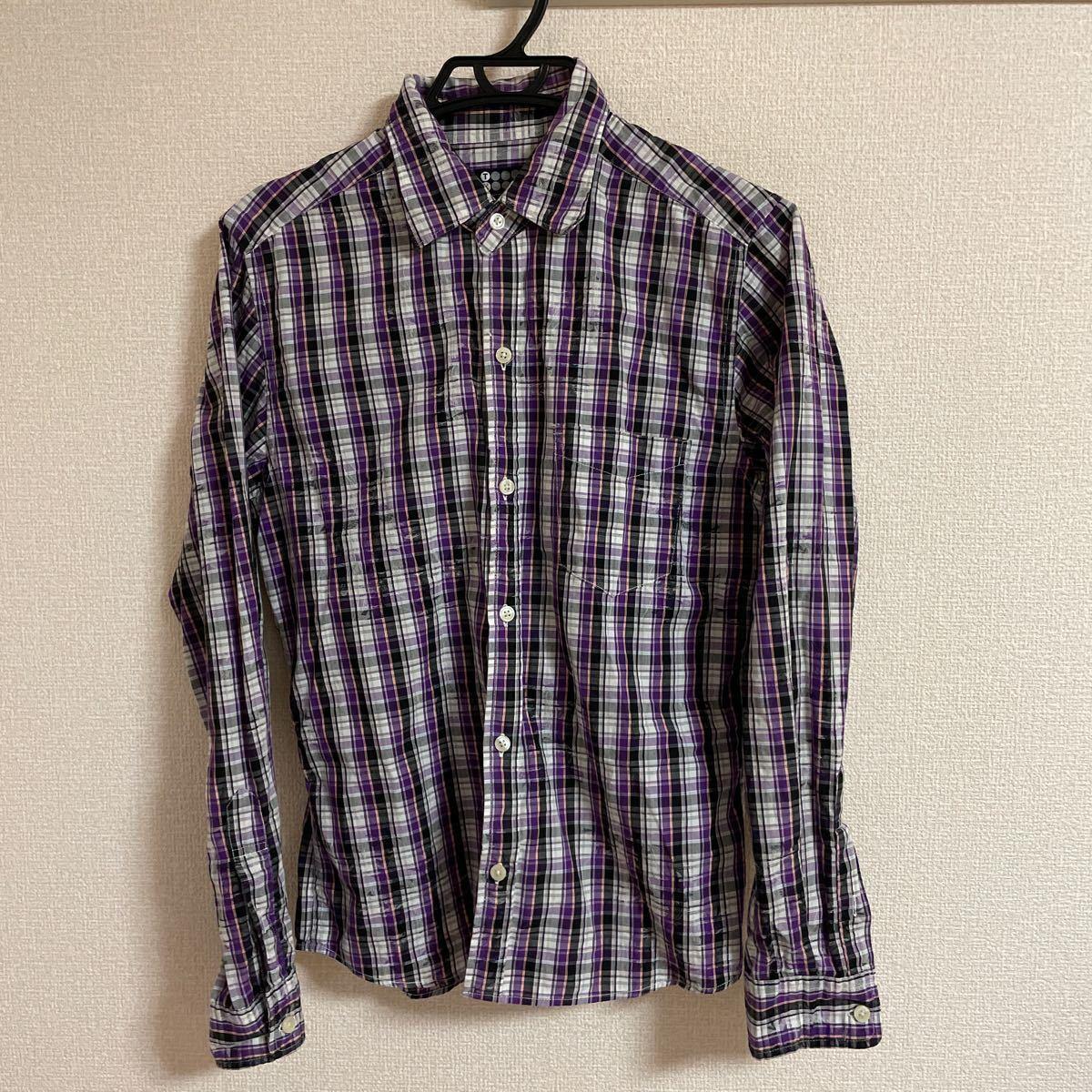 長袖シャツ チェックシャツ チェック柄 ボタンダウンシャツ TK タケオキクチ M 希少デザイン