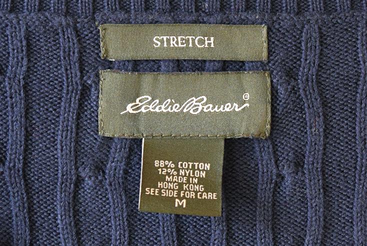 【送料無料】エディーバウアー Vネック セーター ケーブル模様 コットンニット レディースM 紺色 Eddie Bauer CH0396