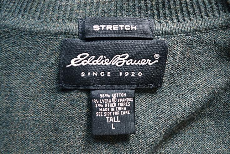 【送料無料】エディーバウアー ハイネック セーター コットンニット メンズL Eddie Bauer オリーブ系 CH0439
