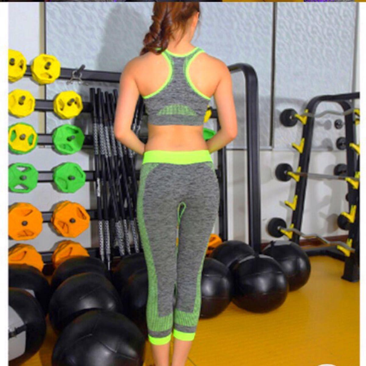 レディー スポーツ トレーニングウェア ヨガ ピラティス スポーツブラ&レギンスセットアップ
