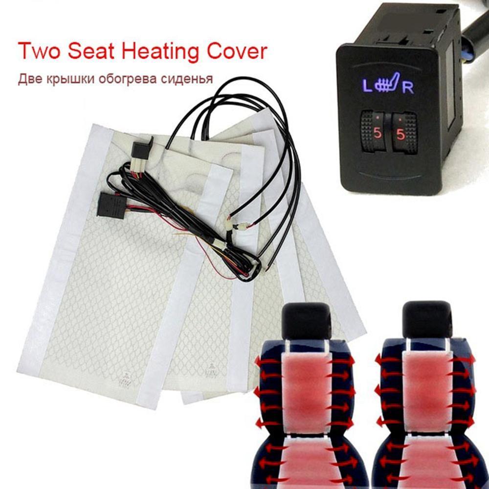 2 席 4 パッドユニバーサル炭素繊維を加熱シートヒーター 12 ボルトパッド 2 ダイヤル 5 レベルスイッチ冬のシートカバーカー温水シート熱_画像1