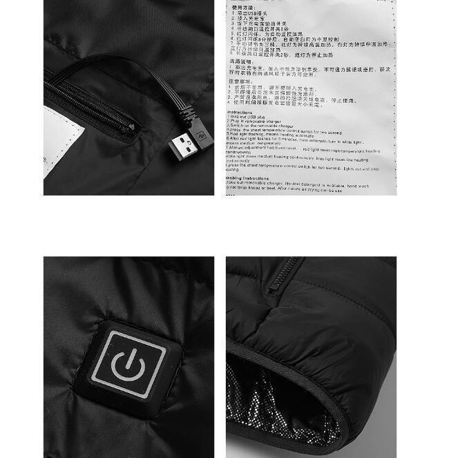 電熱ウェア 電熱ジャケット 8つヒーター 長袖 防寒着 USB加熱服 3段温度調整 秋冬用 男女兼用 水洗い可能 3色とサイズ選択S-4XL_画像5