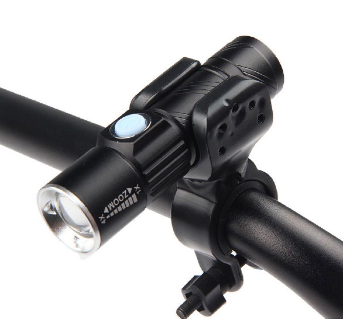 ☆ホルダー付き☆サイクリング&アウトドア USB充電 懐中電灯 led 強力 防水 携帯